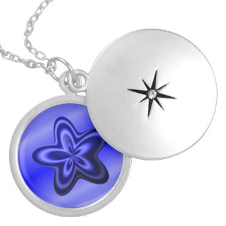 Thin Blue Line Abstract Star Silver Plated Necklace