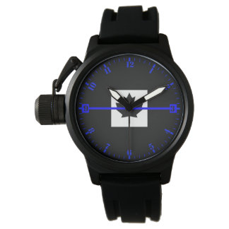Thin Blue Line Accent Dial on Canadian Flag Wristwatch