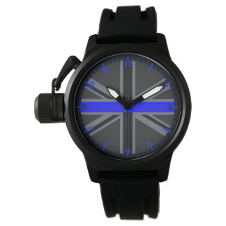 Thin Blue Line Accent Dial on Union Jack Wristwatch