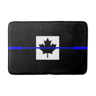 Thin Blue Line Accent on Canadian Flag Bathroom Mat