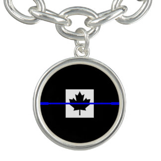 Thin Blue Line Accent on Canadian Flag Bracelets