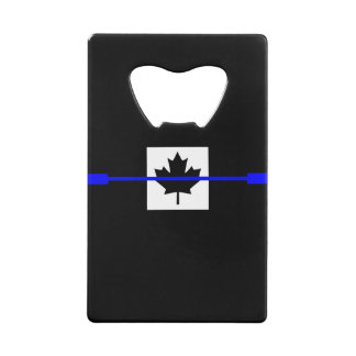 Thin Blue Line Accent on Canadian Flag Credit Card Bottle Opener