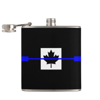 Thin Blue Line Accent on Canadian Flag Flask