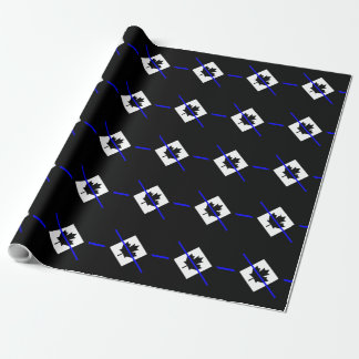 Thin Blue Line Accent on Canadian Flag Wrapping Paper