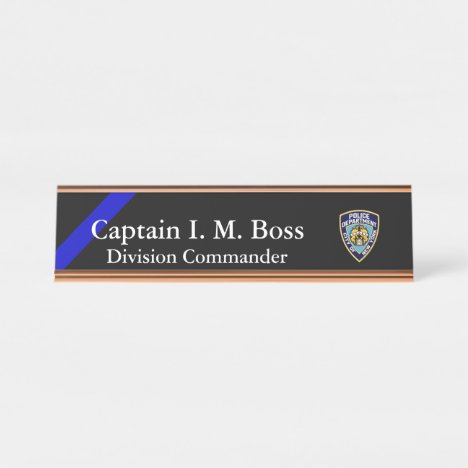 Thin Blue Line - Agency Patch Desk Name Plate
