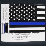 """Thin Blue Line American Flag 3 Ring Binder<br><div class=""""desc"""">Thin blue line style American flag. A Black white and cobalt blue American flag symbolic of law-enforcement.  Items featured on a police style binder with options to fufill all your office and organizational needs.</div>"""
