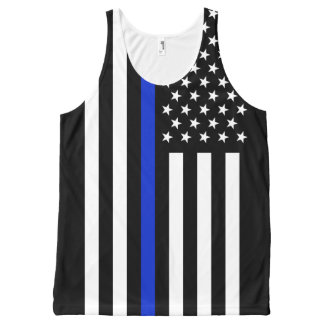 Thin Blue Line American Flag All-Over-Print Tank Top