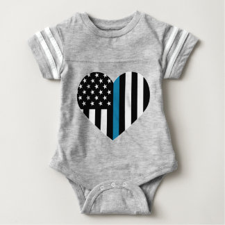 Thin Blue Line American Flag Baby Bodysuit