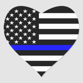Thin Blue Line American Flag Black and White Heart Sticker