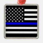Thin Blue Line American Flag Black and White Metal Ornament