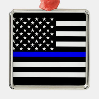 Thin Blue Line American Flag Black and White Metal Ornament