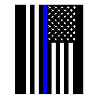 Thin Blue Line American Flag Black and White Postcard