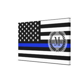 Thin Blue Line American Flag Canvas Print