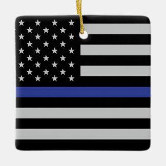 Thin Blue Line - American Flag Ceramic Ornament