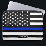 "Thin Blue Line American Flag Computer Sleeve<br><div class=""desc"">Thin blue line style American flag. A Black white and cobalt blue American flag symbolic of law-enforcement.</div>"