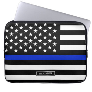 Thin Blue Line American Flag Computer Sleeve