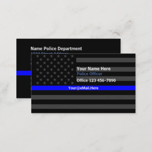Law enforcement business cards templates zazzle thin blue line american flag contact business card reheart Gallery