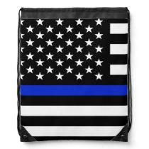Thin Blue Line American Flag Drawstring Backpack