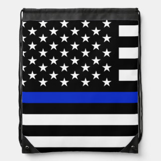 Thin Blue Line American Flag Drawstring Backpack