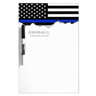 Thin Blue Line American Flag Dry-Erase Board