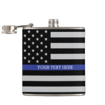 Thin Blue Line - American Flag Flask