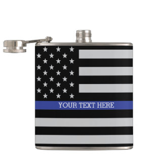 Thin Blue Line - American Flag Flask