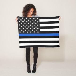 Thin Blue Line American Flag Fleece Blanket