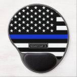 "Thin Blue Line American Flag Gel Mouse Pad<br><div class=""desc"">Thin blue line style American flag. A Black white and cobalt blue American flag symbolic of law-enforcement.</div>"