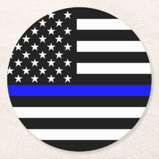 Thin Blue Line American Flag Graphic Decor Round Paper Coaster