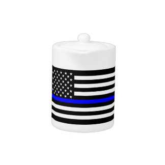 Thin Blue Line American Flag Graphic Decor Teapot