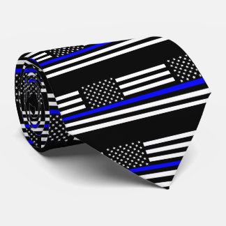 Thin Blue Line American Flag Graphic Decor Tie