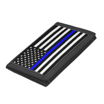 Thin Blue Line American Flag Graphic Decor Tri-fold Wallet 83b2d13d117