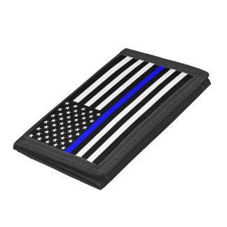 Thin Blue Line American Flag Graphic Decor Tri-fold Wallet