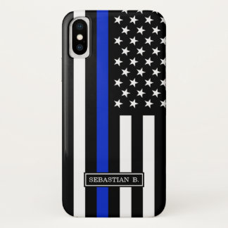 Thin Blue Line American Flag iPhone X Case