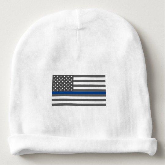 5afc396f04761 Thin Blue Line American flag law enforcement baby Baby Beanie