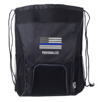 Thin Blue Line American flag law enforcement Drawstring Backpack