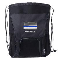Thin Blue Line American flag law enforcement Drawstring Backpack
