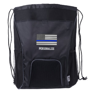 Thin Blue Line American flag law enforcement Drawstring Backpack f3c756267
