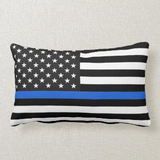 Thin Blue Line American Flag Lumbar Pillow