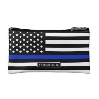 Thin Blue Line American Flag Makeup Bag