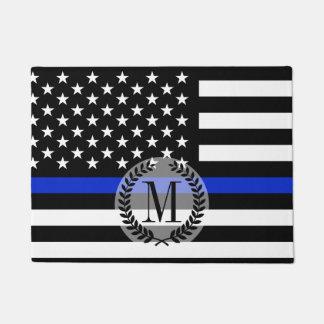 Thin Blue Line American Flag Monogram Doormat