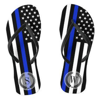 Thin Blue Line American Flag Monogram Flip Flops
