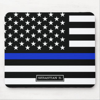 Thin Blue Line American Flag Mouse Pad