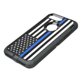Thin Blue Line American Flag OtterBox Defender iPhone 8 Plus/7 Plus Case