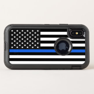 Thin Blue Line American Flag OtterBox Defender iPhone X Case