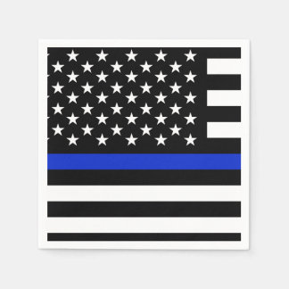 Thin Blue Line American Flag Paper Napkin