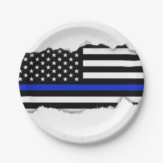 Thin Blue Line American Flag Paper Plate