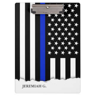 Thin Blue Line American Flag Personalized Clipboard
