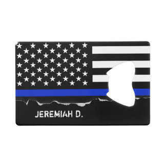 Thin Blue Line American Flag Personalized Credit Card Bottle Opener