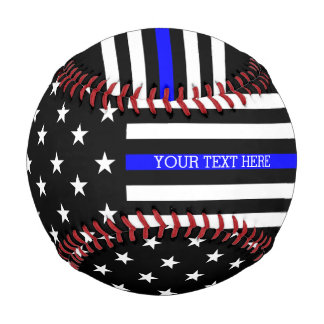 Thin Blue Line - American Flag Personalized Custom Baseball